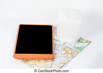 Close up picture of smartphone on a map