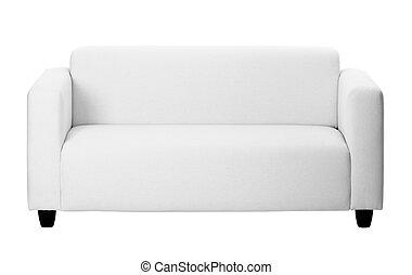 ordinário, cinzento, sofá, branco, fundo