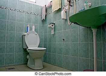 ordinário, cum, banheiro, banheiro