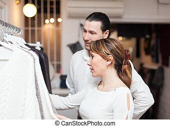 ordinaire, couple, boutique