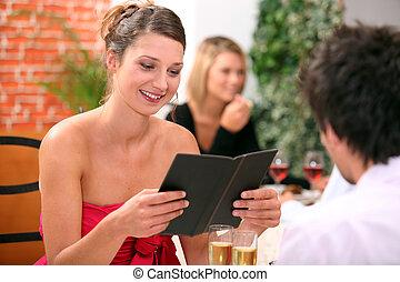 ordinamento, coppia, ristorante
