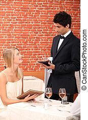 ordinamento, donna, ristorante