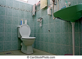 ordinario, cum, servicio, cuarto de baño