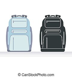 Ordinary backpack. Flat style vector illustration and icon.