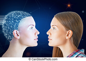 Future concept - Ordinary woman and one with digital brain...
