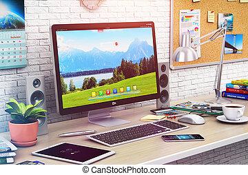 ordinateur bureau, dans, moderne, bureau, ou, maison, espace de travail