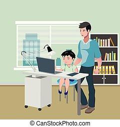 ordinateur bureau, père, devoirs, fils