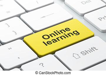 ordinateur clavier, apprentissage, éducation ligne, concept: