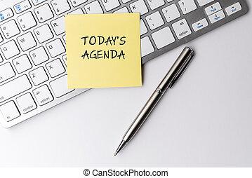 ordinateur clavier, collant, texte, today's, stylo, ordre du jour, note