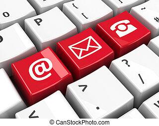 ordinateur clavier, rouges, contact