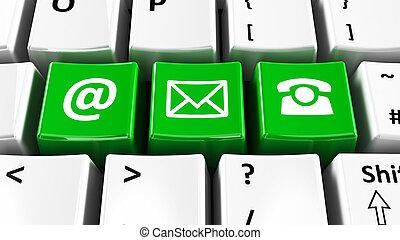 ordinateur clavier, vert, contact