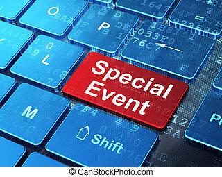 ordinateur gestion, spécial, fond, clavier, événement, concept: