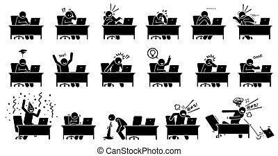 ordinateur homme, il, choses, utilisation, vers, internet., voir, réactions, lire, nouvelles, ligne