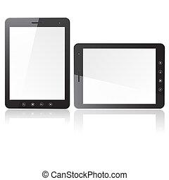 ordinateur pc, écran blanc, tablette, deux