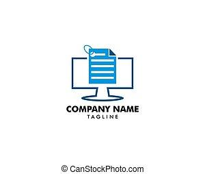 ordinateur pc, conception, gabarit, logo, données