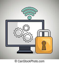 ordinateur pc, engrenage, wifi