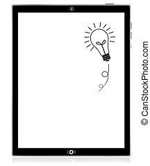 ordinateur pc, idée, tablette, ampoule