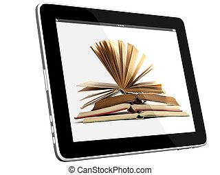 ordinateur pc, livre, tablette