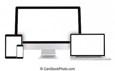 ordinateur pc, téléphone, tablette, ordinateur portable