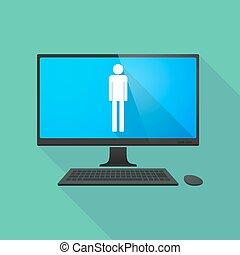 ordinateur personnel, mâle, pictogramme