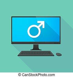 ordinateur personnel, mâle, signe