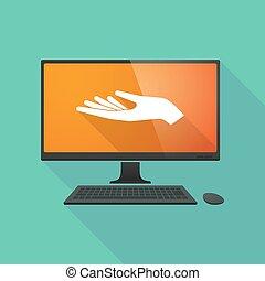 ordinateur personnel, offrande, main