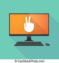 ordinateur personnel, victoire, main