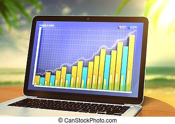 ordinateur portable, à, business, graphique, sur, a, table, plage