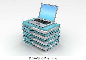 ordinateur portable, à, chemise