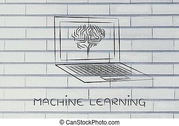 ordinateur portable, à, circuit, cerveau, sur, écran, machine, apprentissage