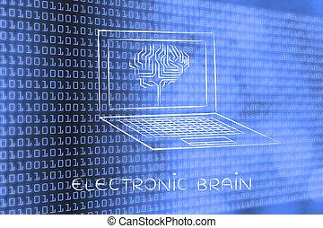 ordinateur portable, à, circuit, cerveau, sur, écran, sous-titre, électronique, cerveau