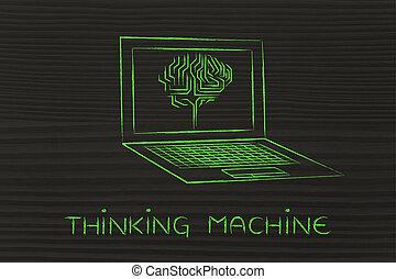 ordinateur portable, à, circuit, cerveau, sur, écran, sous-titre, pensée, machine