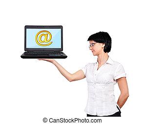 ordinateur portable, à, email, icône