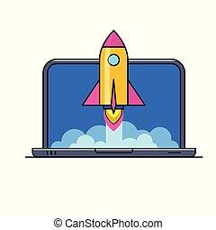 ordinateur portable, à, fusée, voler, dehors, de, écran
