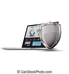 ordinateur portable, à, métallique, bouclier