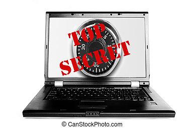 ordinateur portable, à, secret supérieur, texte