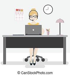 ordinateur portable, écouteurs, ouvrier, femme, bureau
