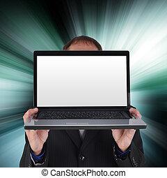 ordinateur portable, écran blanc, internet