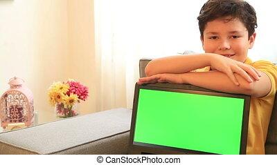 ordinateur portable, écran, vert, moniteur, enfant