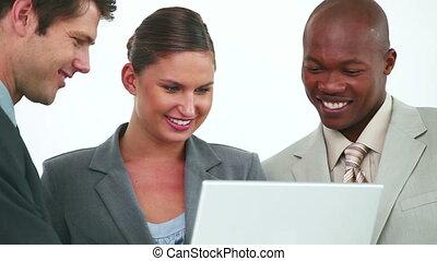 ordinateur portable, équipe, écran, business, regarder