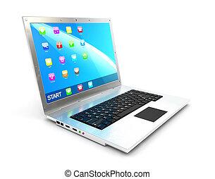 ordinateur portable, 3d