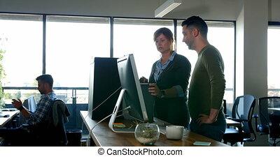 ordinateur portable, 4k, bureau, discuter, sur, cadres