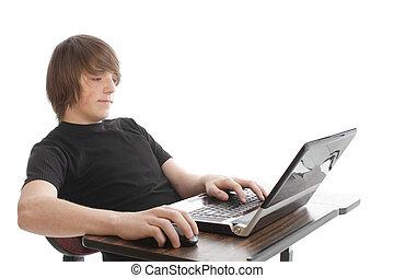 ordinateur portable, adolescent mâle
