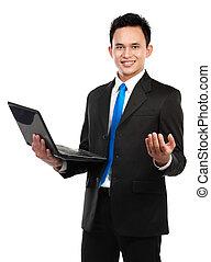 ordinateur portable, affaires asiatiques, homme