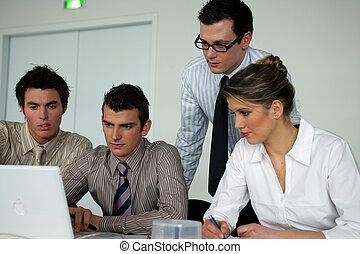 ordinateur portable, affaires gens, séance