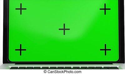 ordinateur portable, alpha, écran, rendre, channel., vert, 4k, animation, ouverture, moderne, arrière-plan., 3d, blanc
