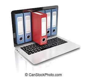 ordinateur portable, -, anneau, fichier, base données