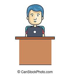 ordinateur portable, avatar, fonctionnement, homme