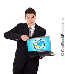 ordinateur portable, avion, pointage, homme affaires