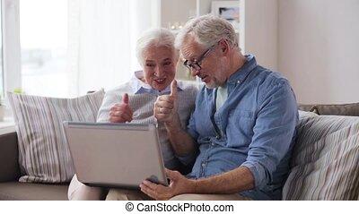 ordinateur portable, avoir, vidéo, bavarder, maison, couples aînés